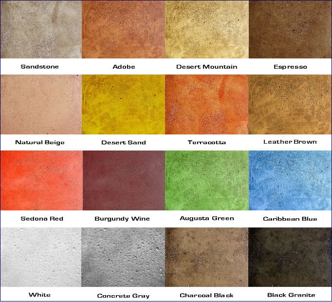 Soy Based Concrete Stain Color Chart